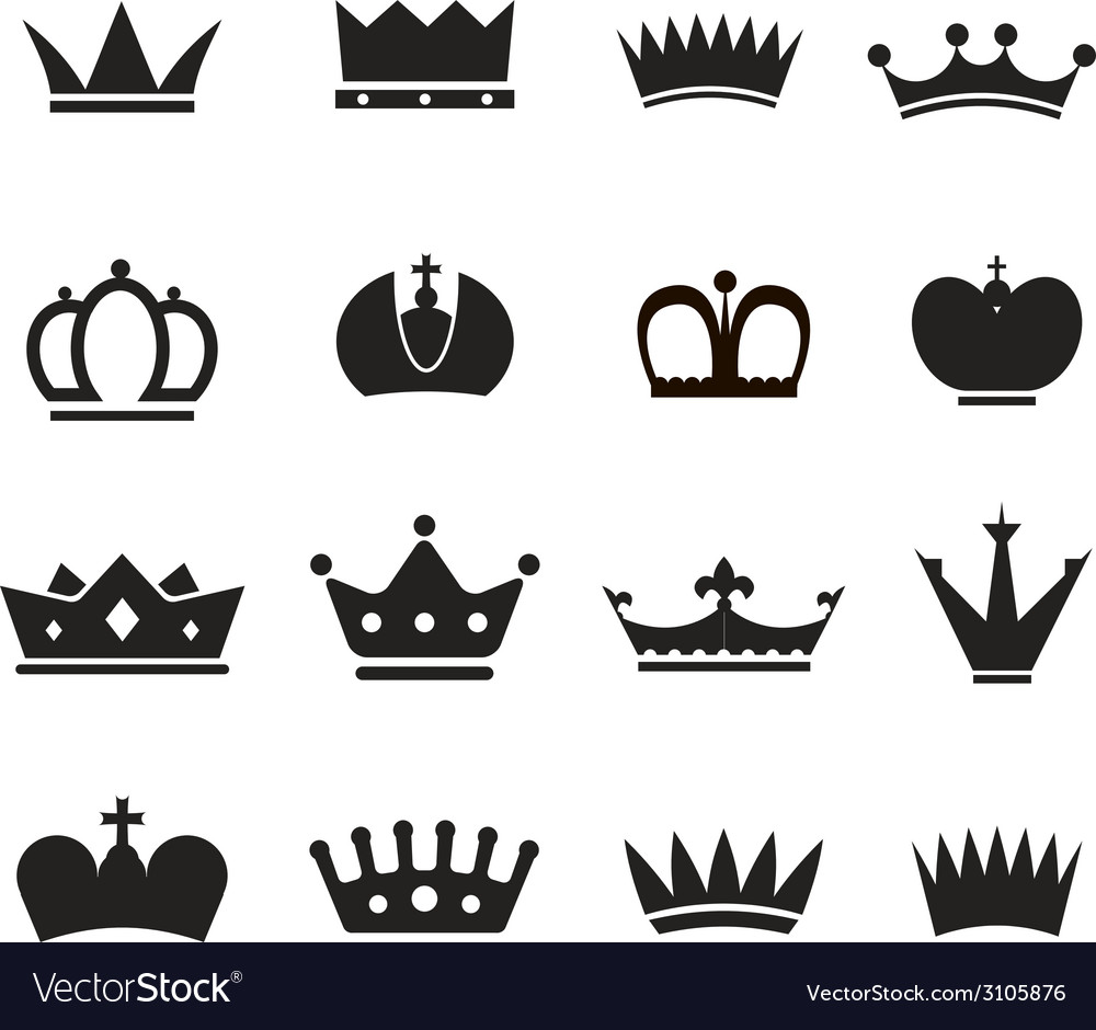 Different crowns silhouettes collection vector | Price: 1 Credit (USD $1)