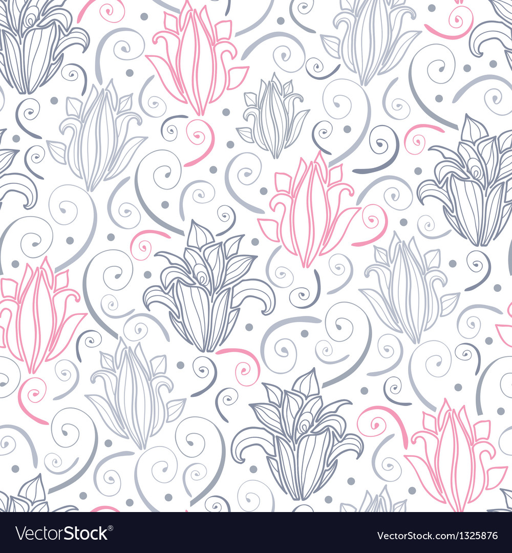 Gray and pink lily lineart seamless pattern vector | Price: 1 Credit (USD $1)