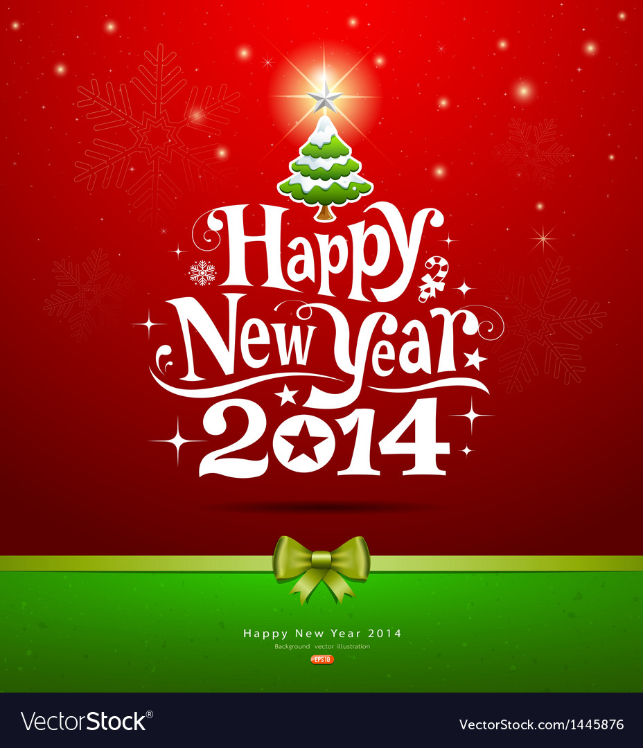 Happy new year 2014 lettering greeting card vector | Price: 1 Credit (USD $1)
