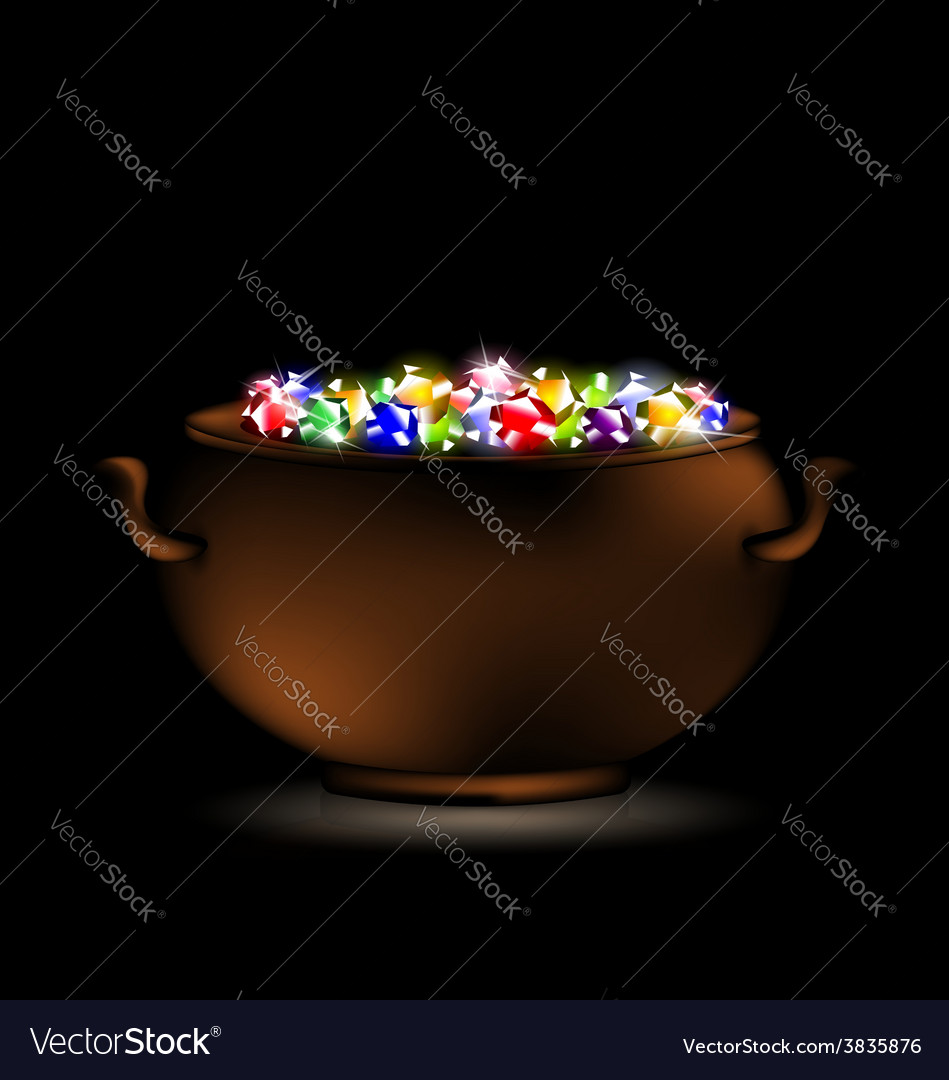 Pot of gems vector | Price: 1 Credit (USD $1)