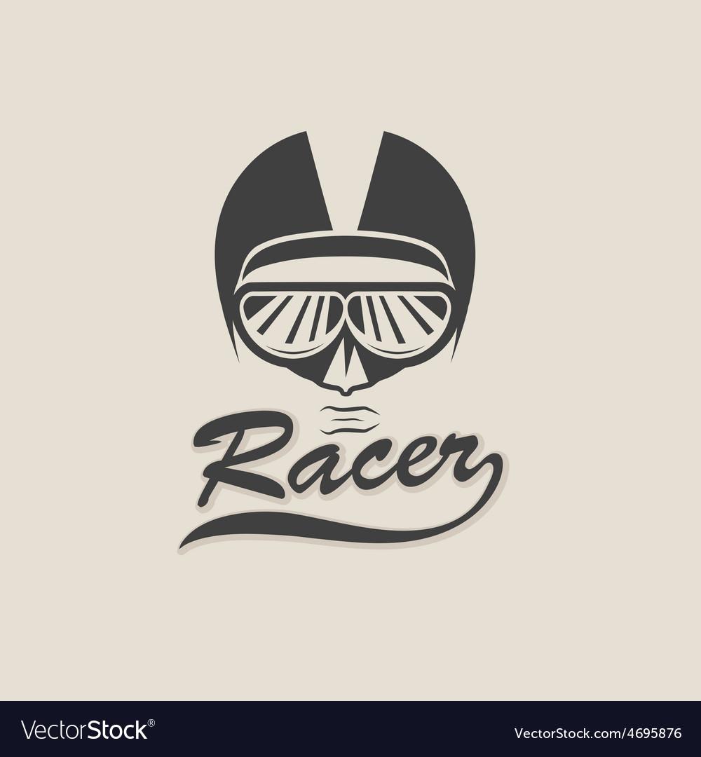 Racer head vintage vector | Price: 1 Credit (USD $1)
