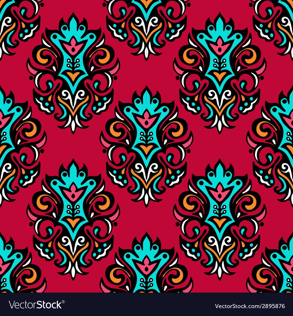 Red royal damask flower seamless vector | Price: 1 Credit (USD $1)
