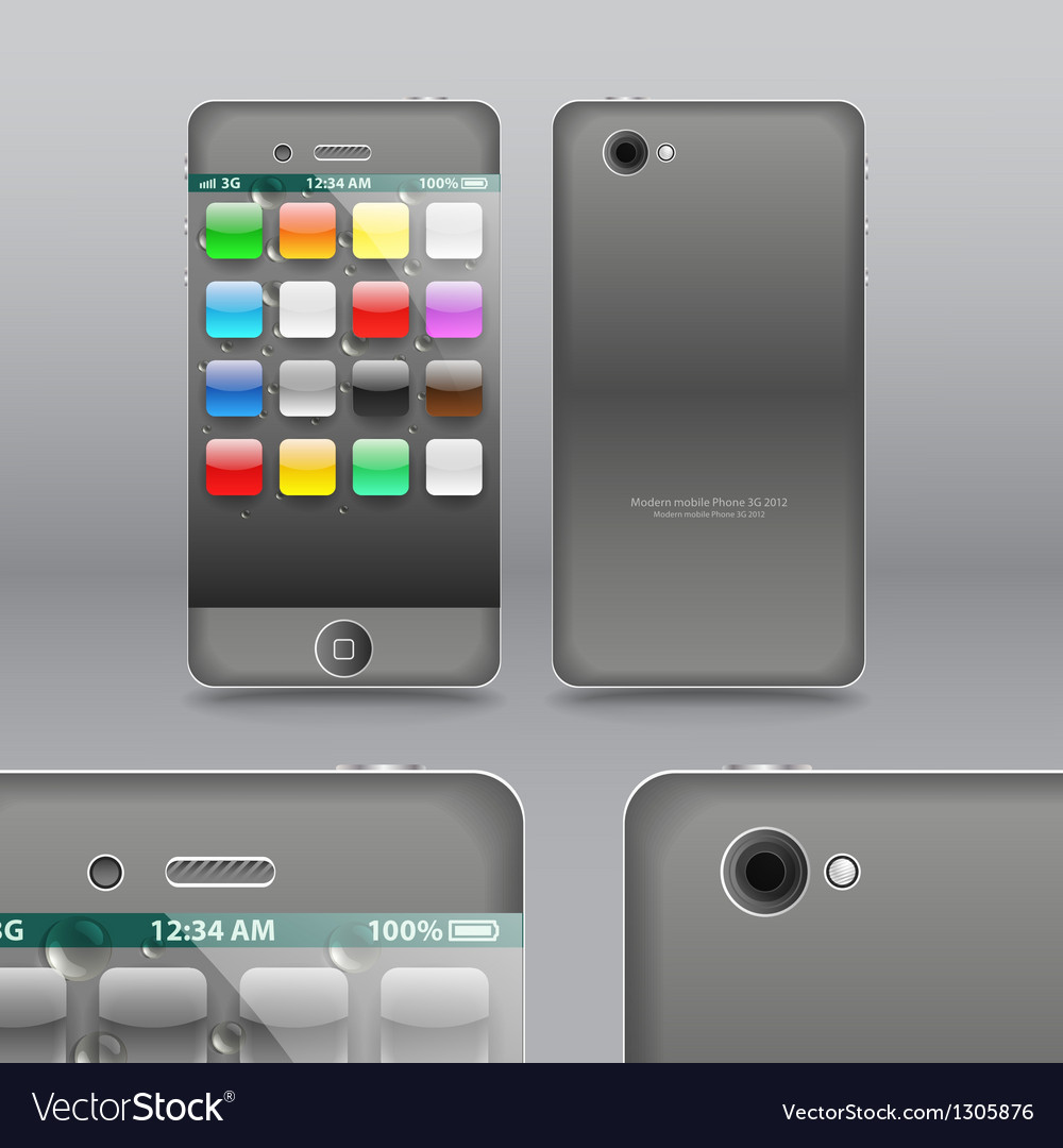 Smoke grey modern touchphone gadget vector | Price: 3 Credit (USD $3)