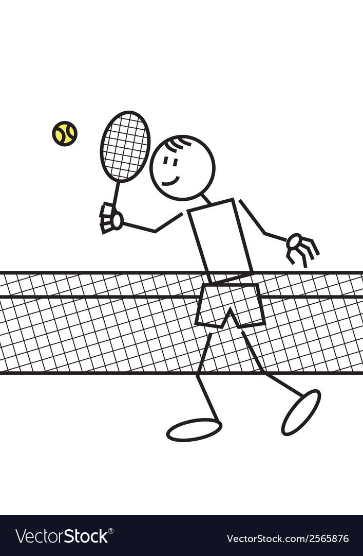 Stick figure tennis vector | Price: 1 Credit (USD $1)