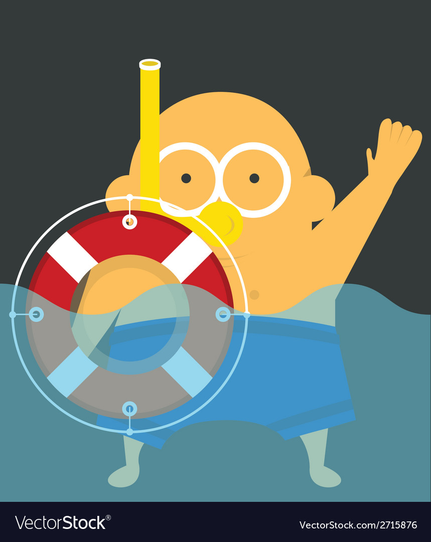 Swimmer with lifebuoy vector | Price: 1 Credit (USD $1)