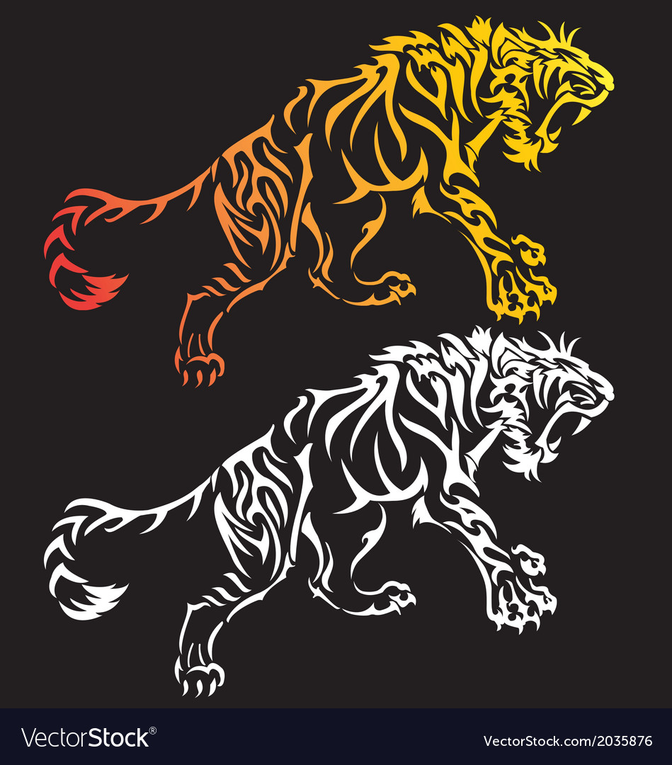 Tiger tattoo design vector | Price: 1 Credit (USD $1)