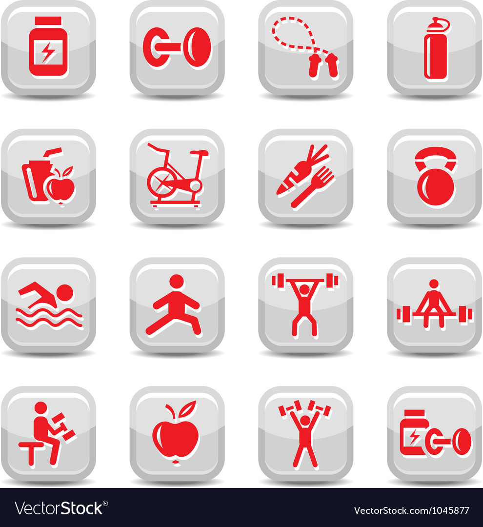 Bodybuilding and fitness icons set vector | Price: 1 Credit (USD $1)