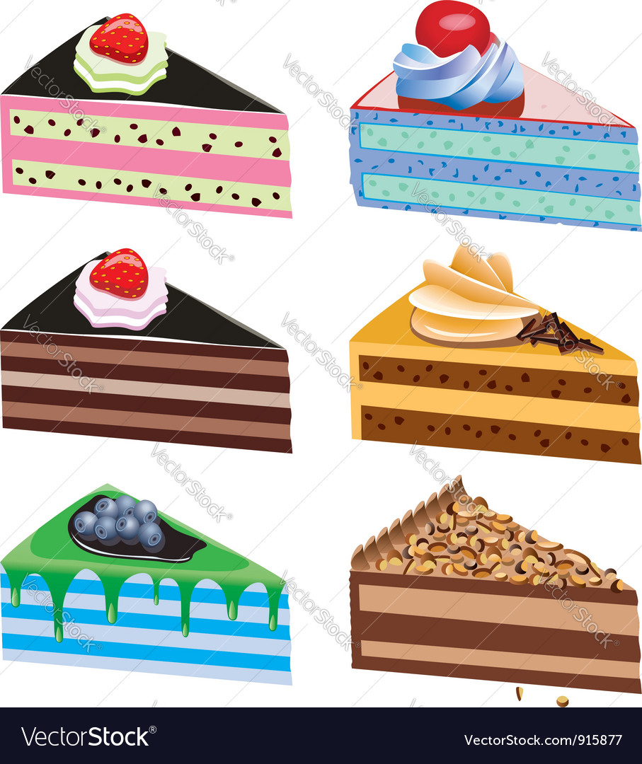 Cake slices vector | Price: 3 Credit (USD $3)