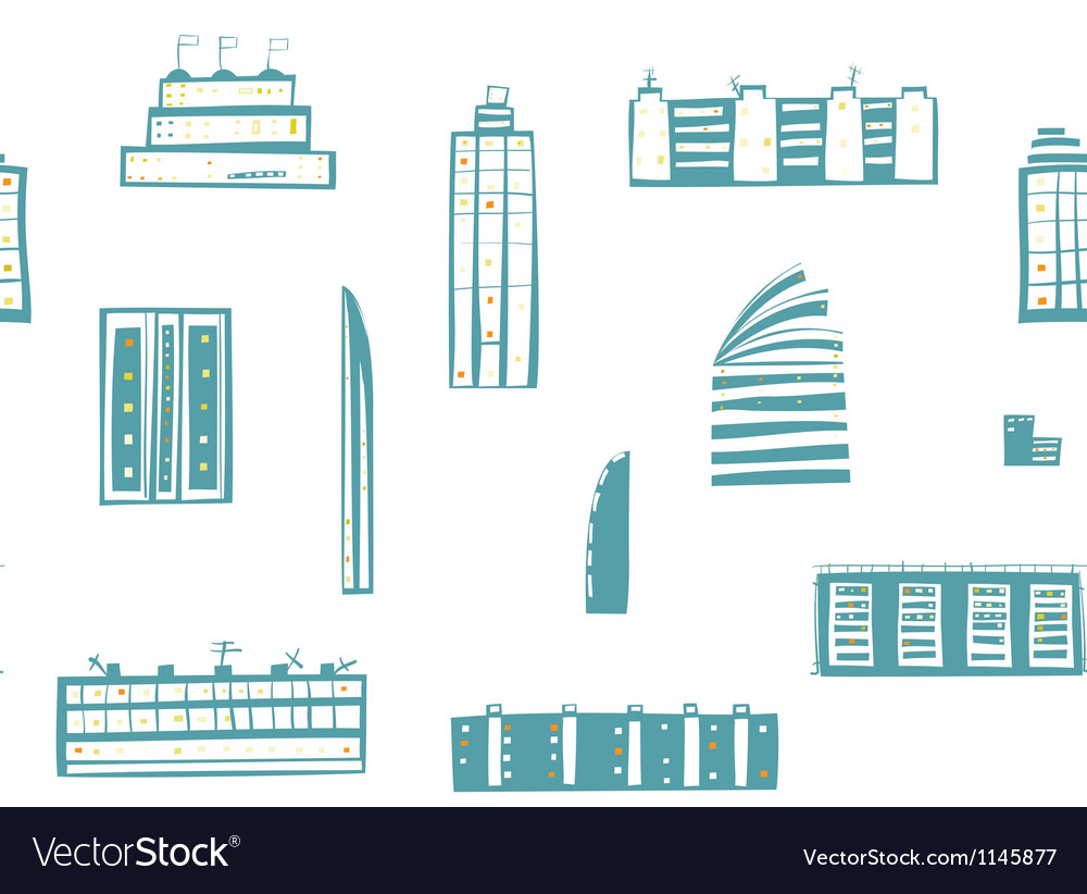 City buildings seamless pattern vector | Price: 1 Credit (USD $1)