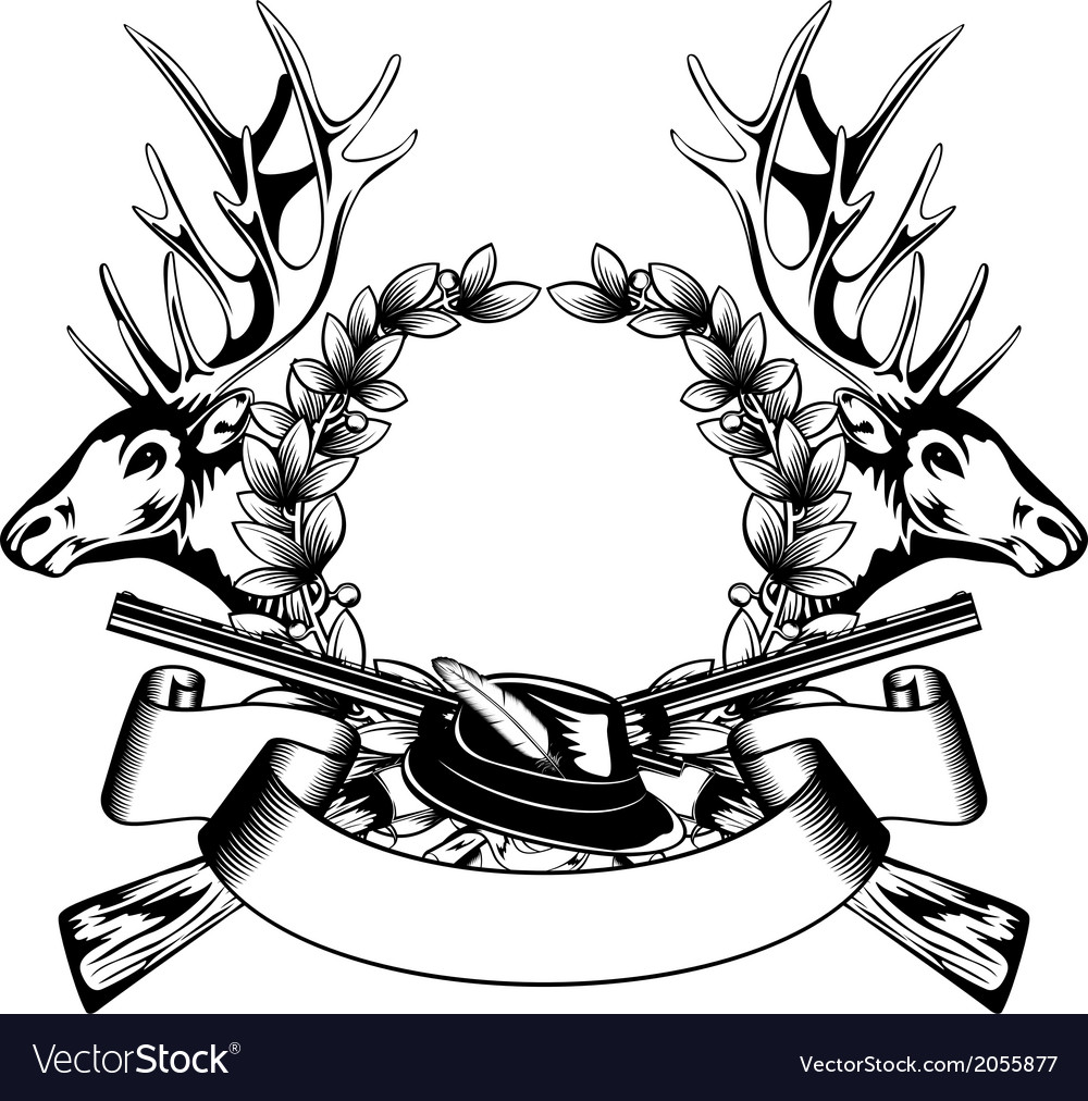 Elk heads crossed rifle hat and oak wreath vector | Price: 1 Credit (USD $1)