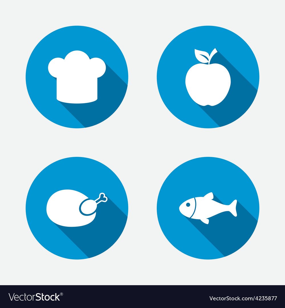 Food icons apple fruit with leaf symbol vector | Price: 1 Credit (USD $1)