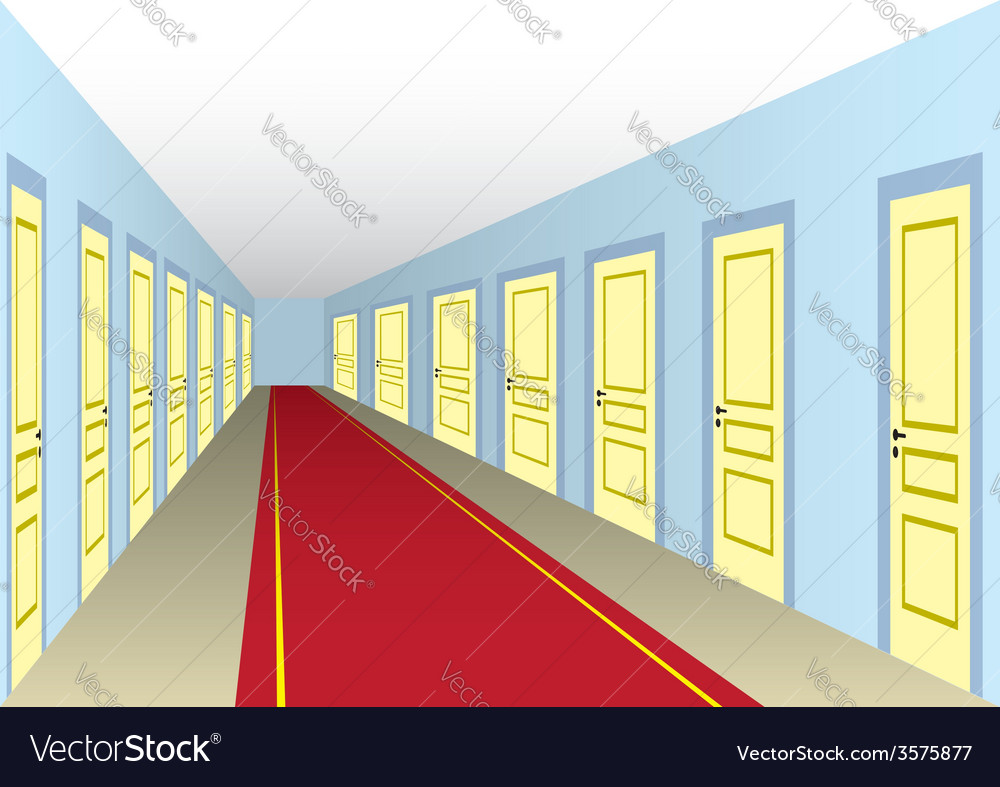 Hall with doors vector | Price: 1 Credit (USD $1)