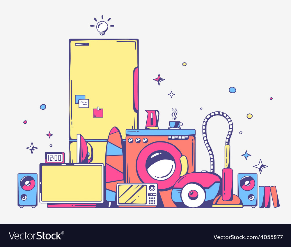 Large pile of bright household appliances vector | Price: 1 Credit (USD $1)