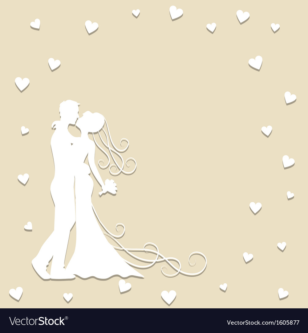 Paper silhouette of kissing bride and groom vector | Price: 1 Credit (USD $1)