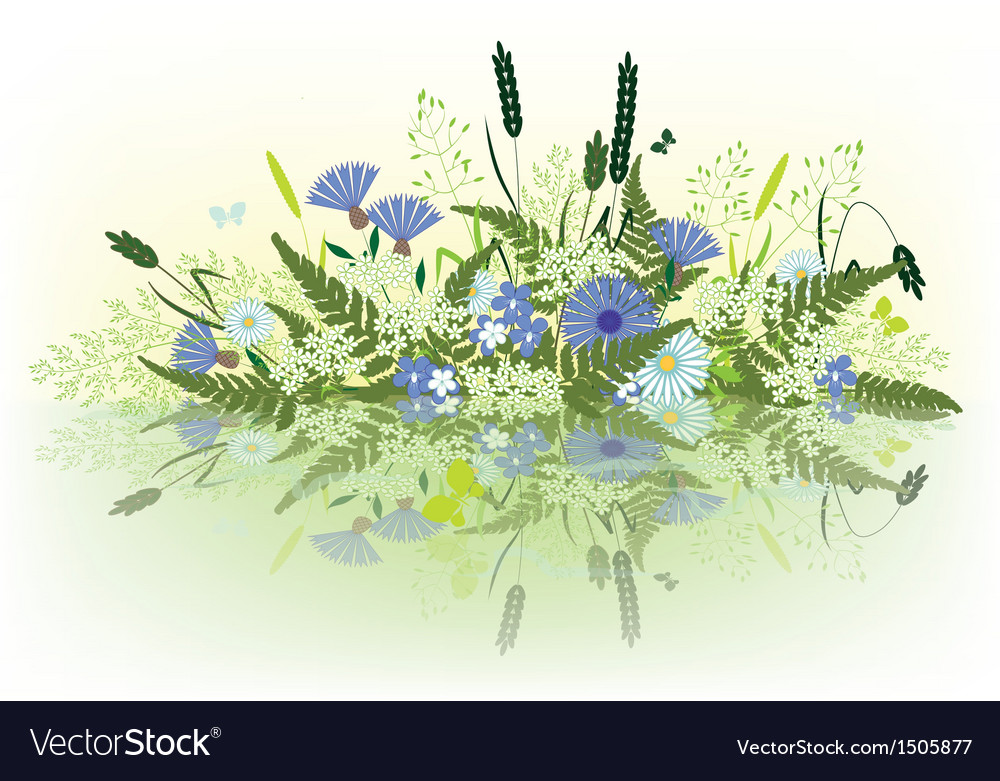 Prairie grass and flowers vector | Price: 1 Credit (USD $1)