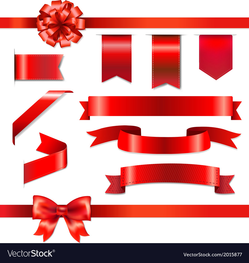 Red bow with ribbons set vector | Price: 1 Credit (USD $1)