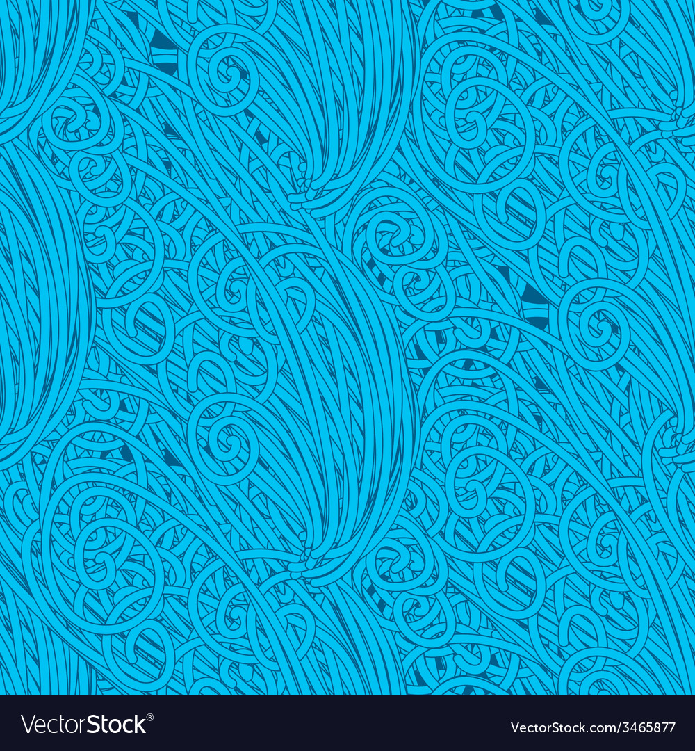 Seamless wave hand-drawn pattern waves vector | Price: 1 Credit (USD $1)
