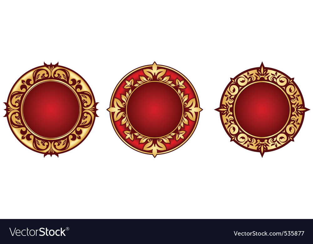 Set of vintage circle frames vector | Price: 1 Credit (USD $1)