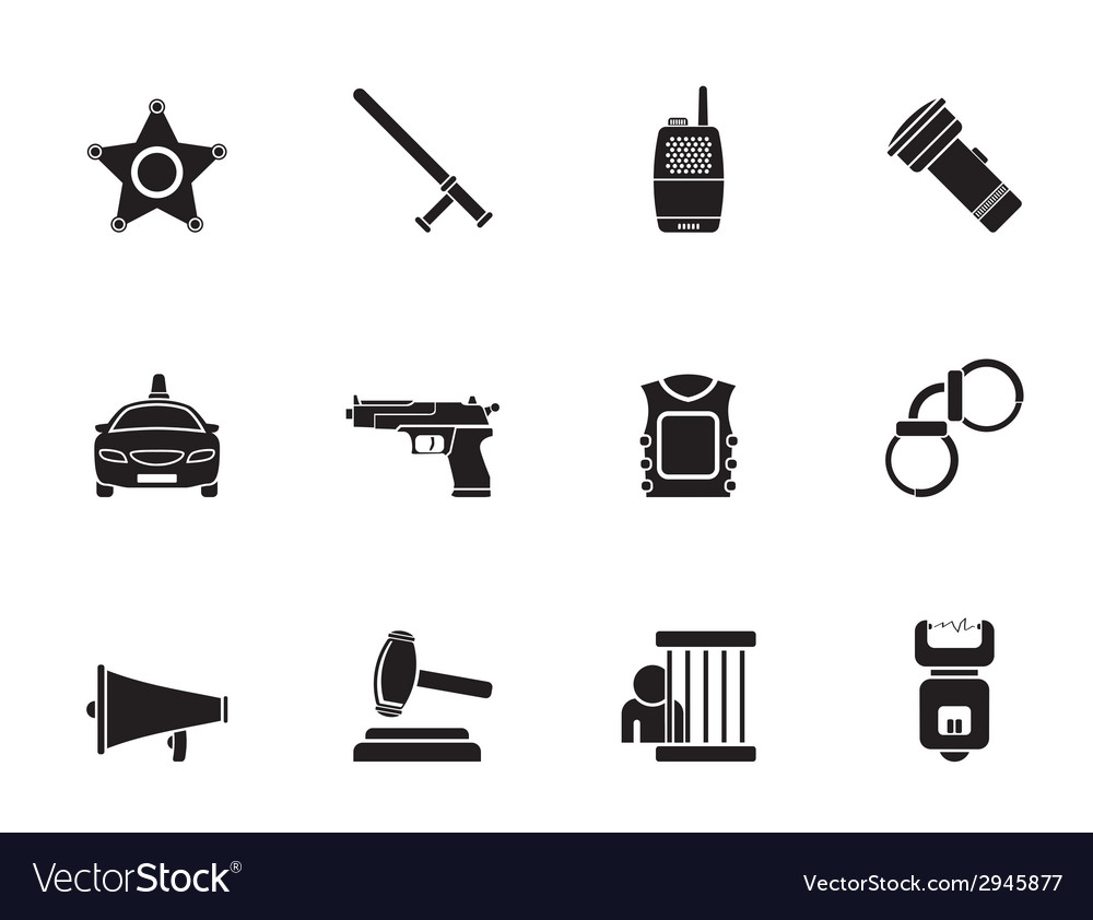 Silhouette police and crime icons vector | Price: 1 Credit (USD $1)