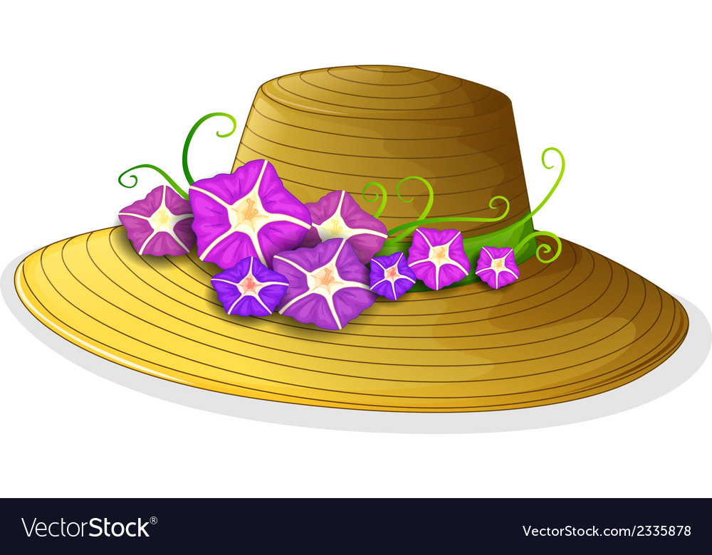 A brown hat with blooming flowers vector | Price: 1 Credit (USD $1)