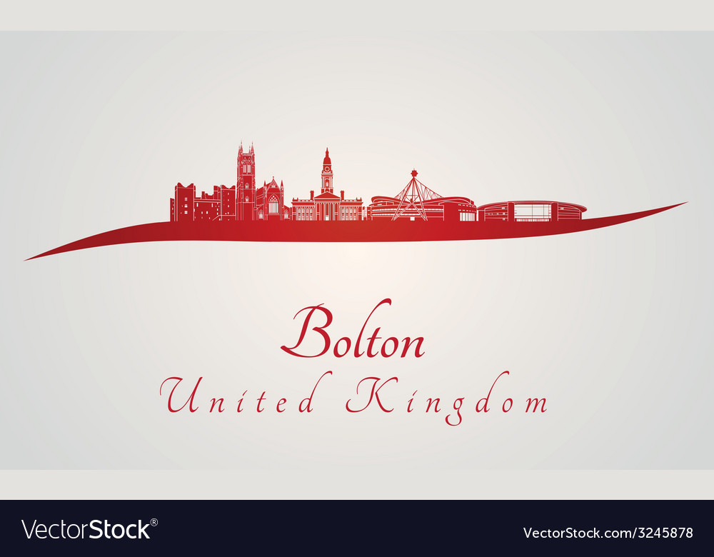 Bolton skyline in red vector | Price: 1 Credit (USD $1)