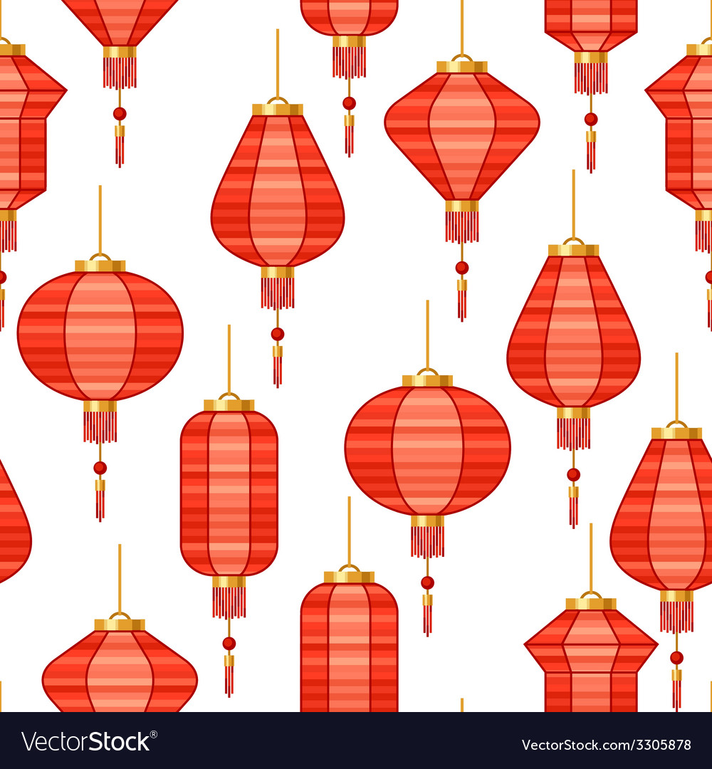 Chinese new year seamless pattern with lanterns vector | Price: 1 Credit (USD $1)