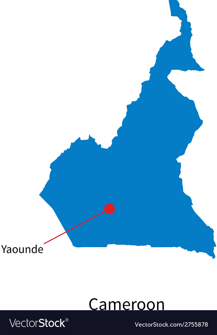 Detailed map of cameroon and capital city yaounde vector | Price: 1 Credit (USD $1)
