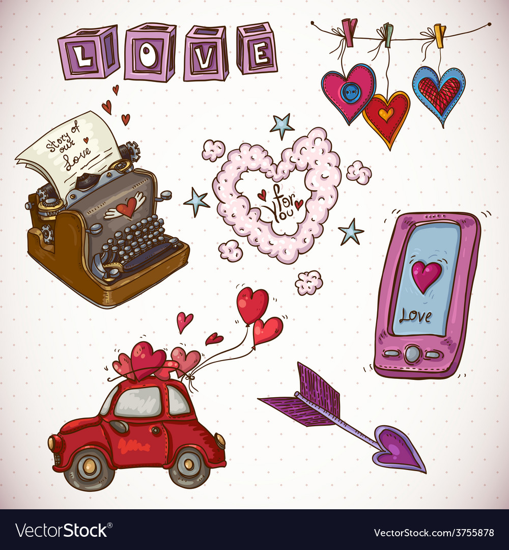 Doodle card valentines day with heart of clouds vector | Price: 1 Credit (USD $1)
