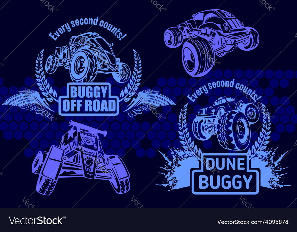 Dune buggy and monster truck - badge vector   Price: 1 Credit (USD $1)