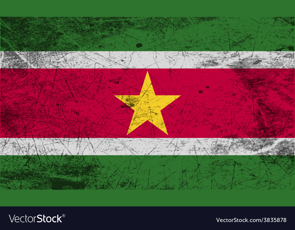 Flag of suriname with old texture vector   Price: 1 Credit (USD $1)