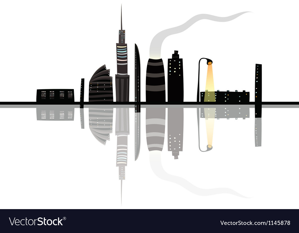 Night city landscape reflection cartoon vector | Price: 1 Credit (USD $1)
