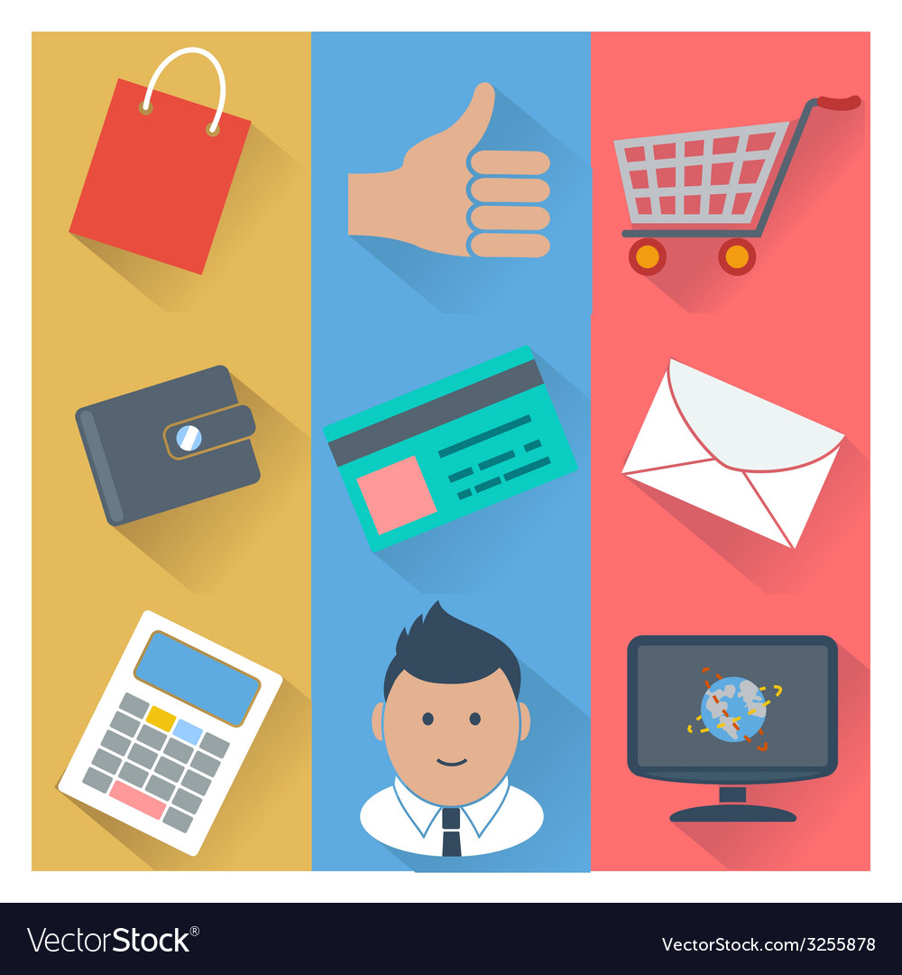 Online shopping and payment methods icons vector | Price: 1 Credit (USD $1)