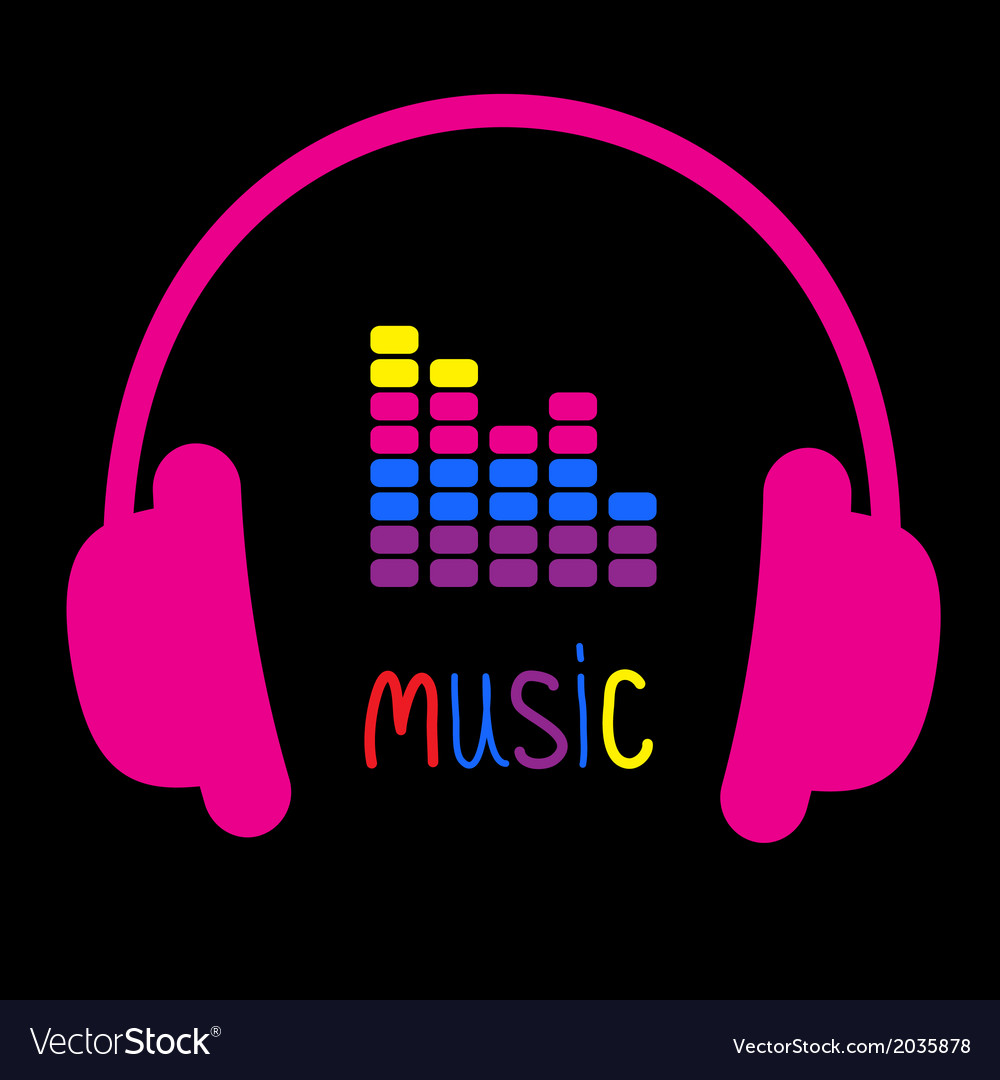 Pink headphones equalizer and colorful word music vector | Price: 1 Credit (USD $1)