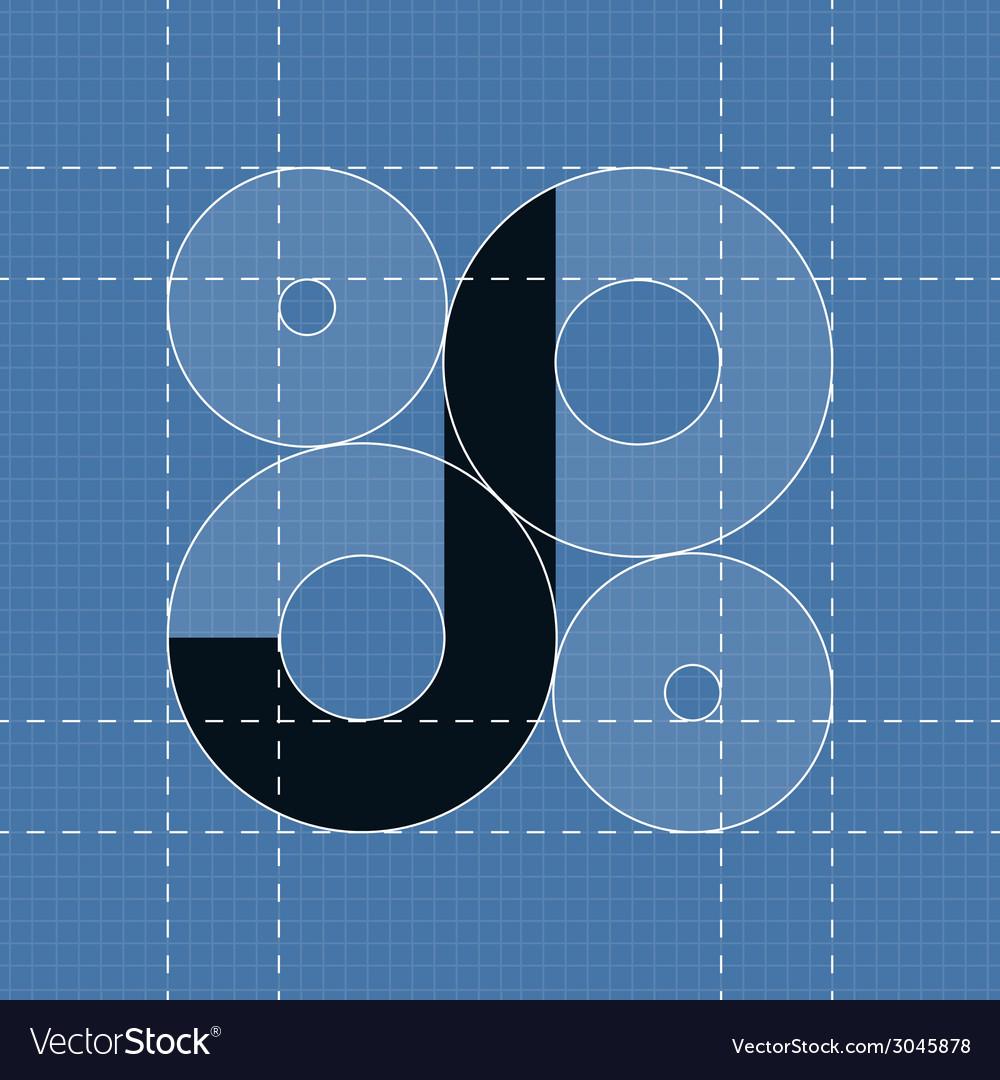 Round engineering font symbol j vector | Price: 1 Credit (USD $1)