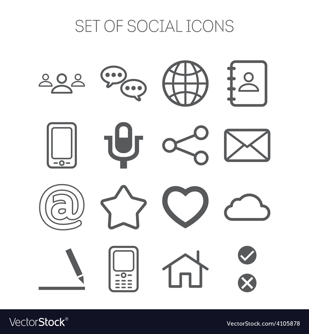 Set of simple social monochromatic icons vector | Price: 1 Credit (USD $1)