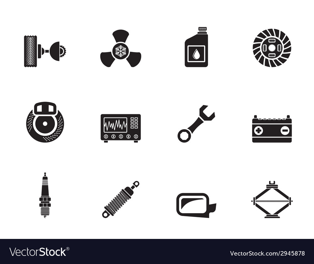 Silhouette car parts and services icons vector | Price: 1 Credit (USD $1)