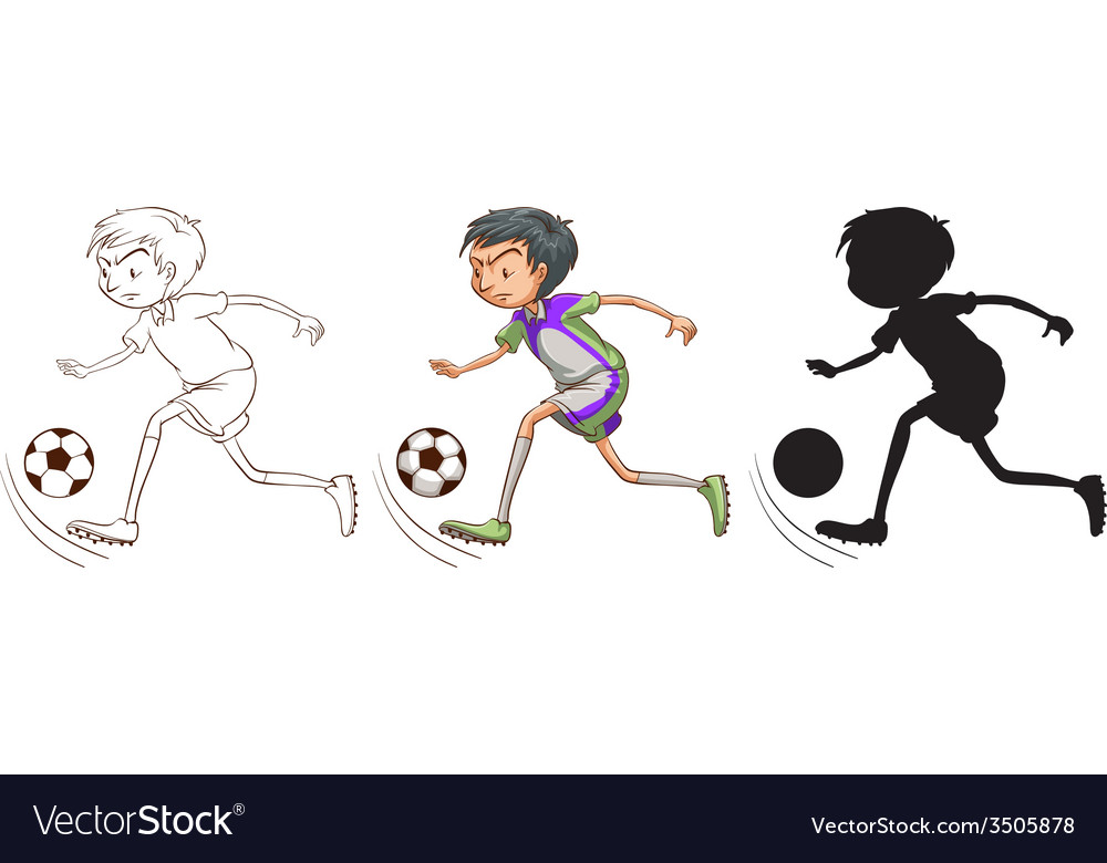 Sketch of a boy playing soccer vector | Price: 1 Credit (USD $1)