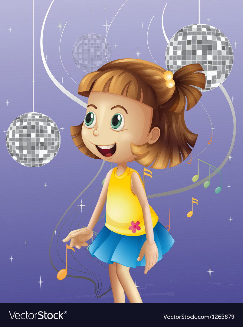 A girl looking at the disco balls vector