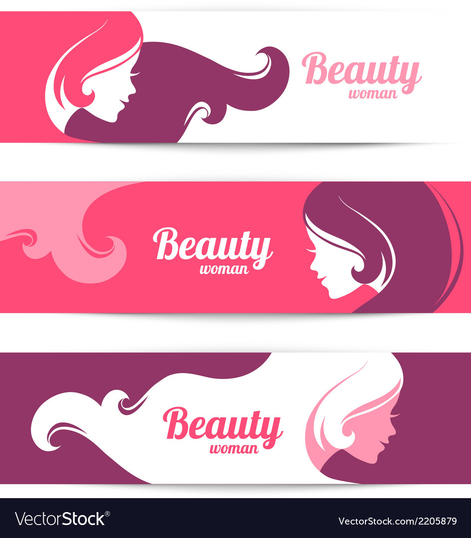 Banners with stylish beautiful woman silhouette vector | Price: 1 Credit (USD $1)