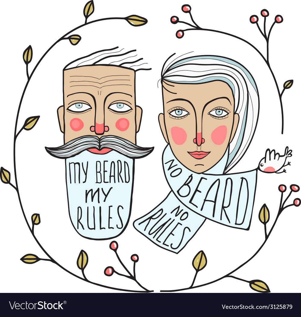 Bearded man and no beard woman portraits vector | Price: 1 Credit (USD $1)