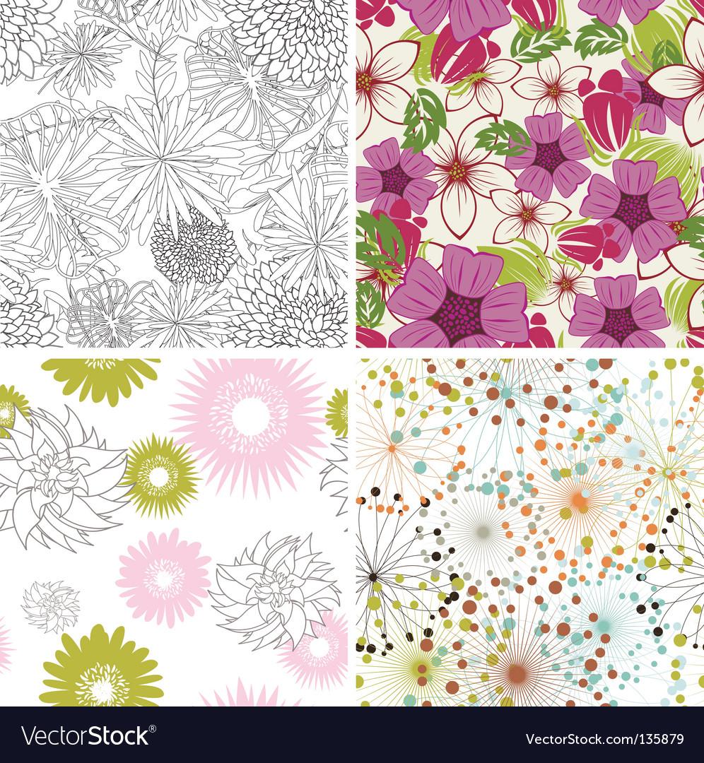 Floral backgrounds set vector | Price: 1 Credit (USD $1)