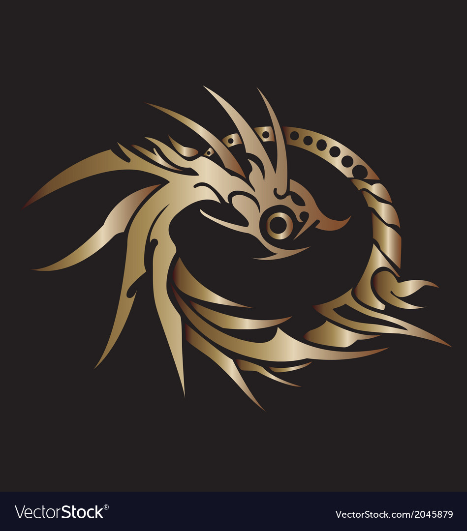 Golden dragon ring on white background vector | Price: 1 Credit (USD $1)