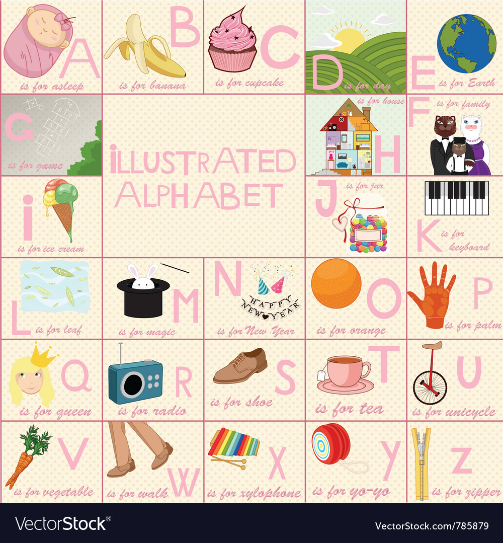 Illustrated alphabet for children vector | Price: 3 Credit (USD $3)