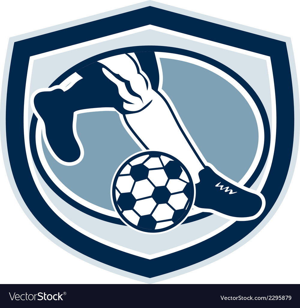 Leg foot kicking soccer ball shield retro vector | Price: 1 Credit (USD $1)