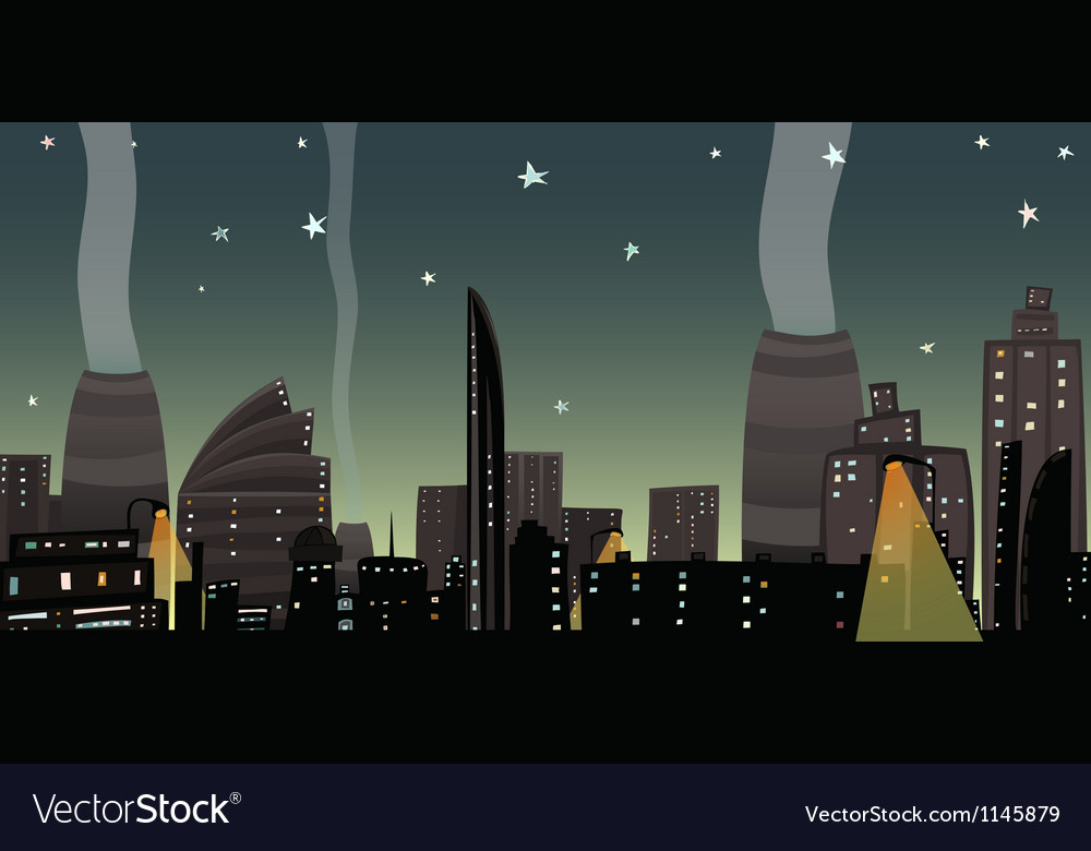 Night city landscape cartoon vector | Price: 1 Credit (USD $1)