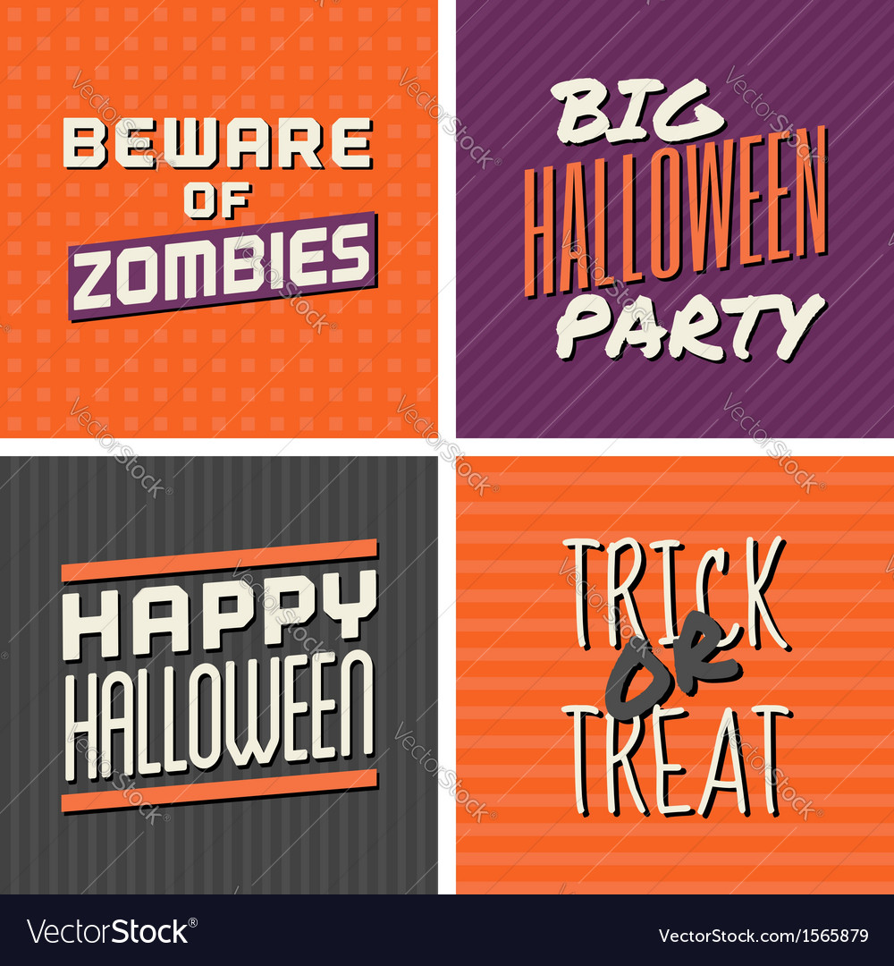 Retro design halloween greeting cards vector | Price: 1 Credit (USD $1)