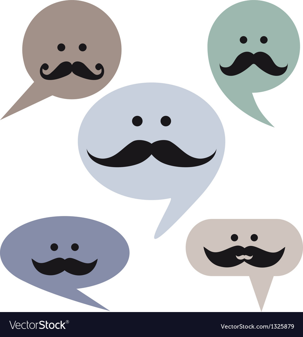 Speech bubble faces with mustaches vector | Price: 1 Credit (USD $1)