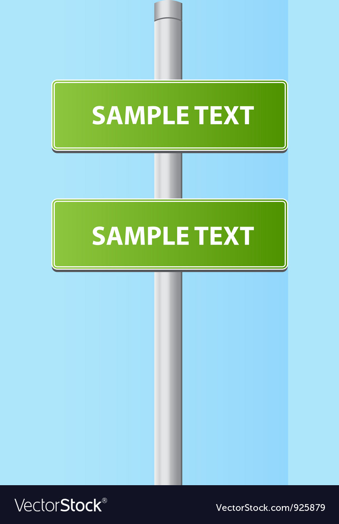 Two green road plates signs vector | Price: 1 Credit (USD $1)