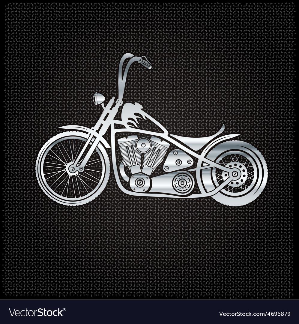 Vintage silver motorcycle on metal background vector   Price: 1 Credit (USD $1)