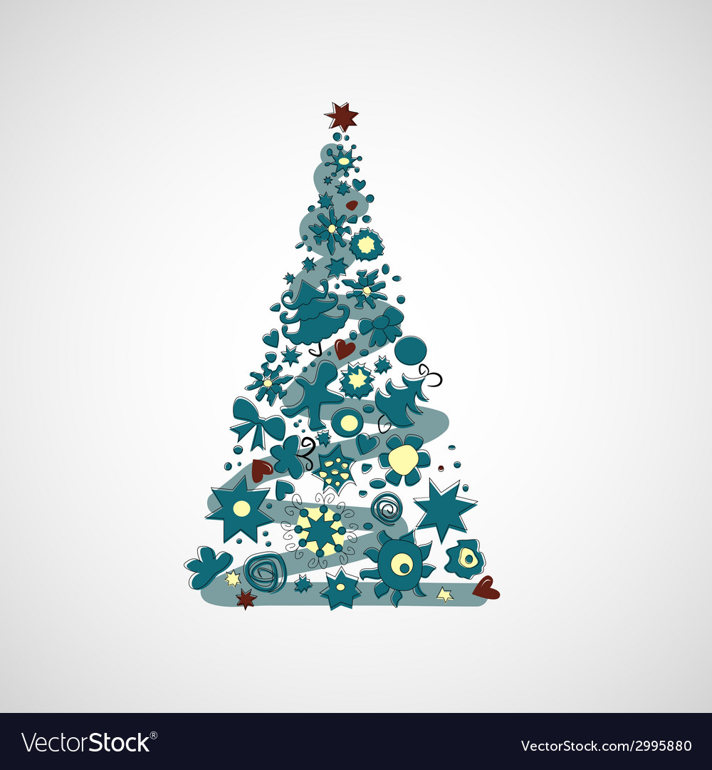Beautiful christmas tree on a light background vector | Price: 1 Credit (USD $1)